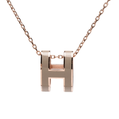 HERMES 經典Pop H立體簍空橢圓LOGO項鍊(栗棕X玫瑰金)
