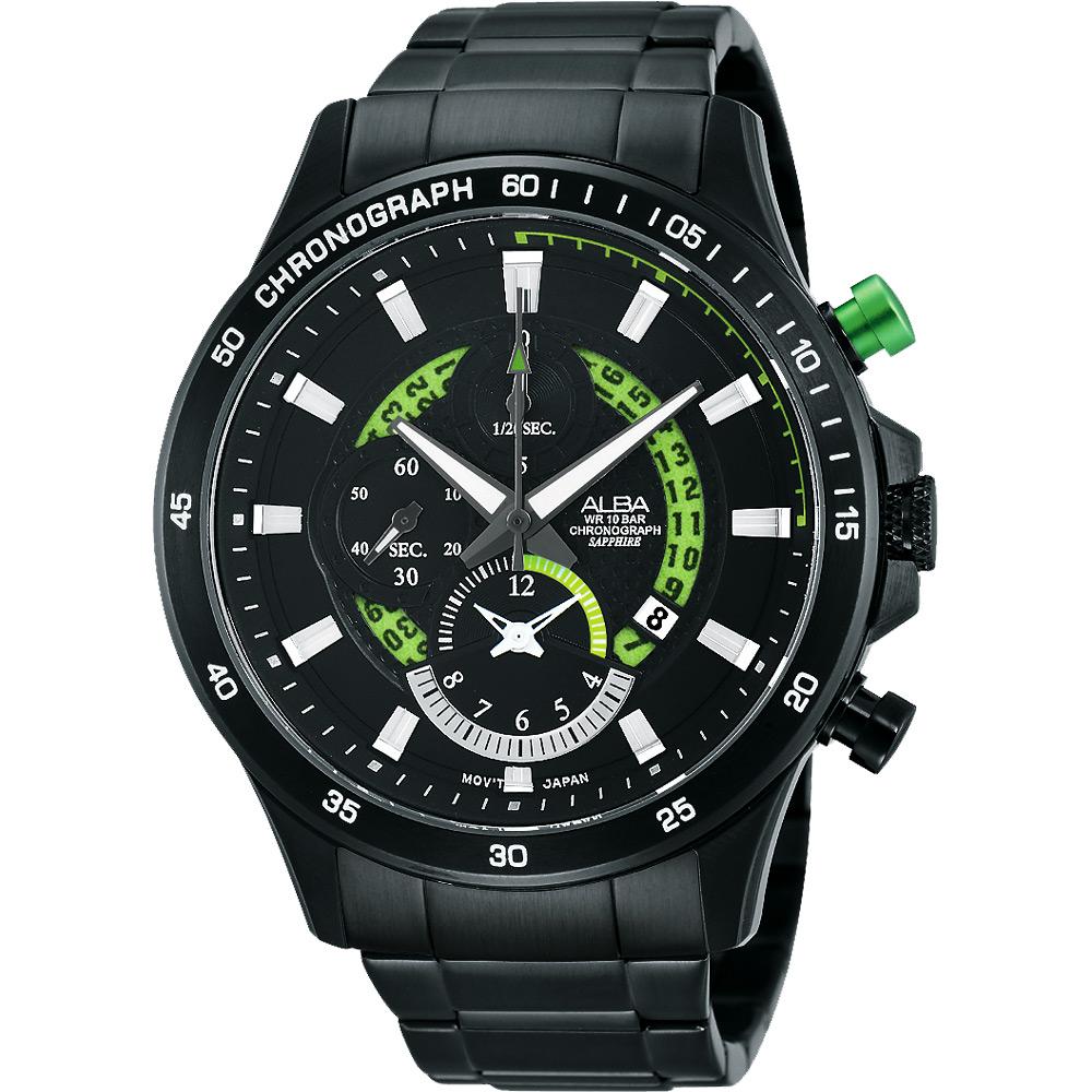 ALBA 疾速奔馳賽車手計時腕錶(AF8S81X1)-鍍黑x綠/44mm
