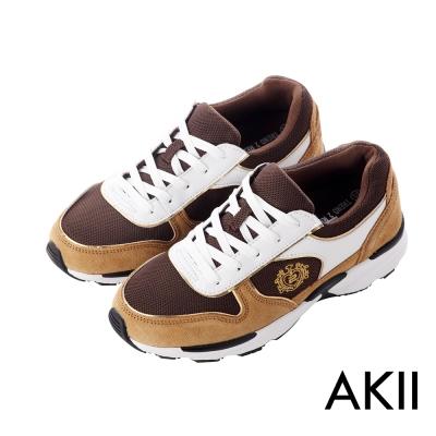 AKII韓國空運‧雙彈動力氣墊大底名牌款內增高休閒鞋-咖啡色