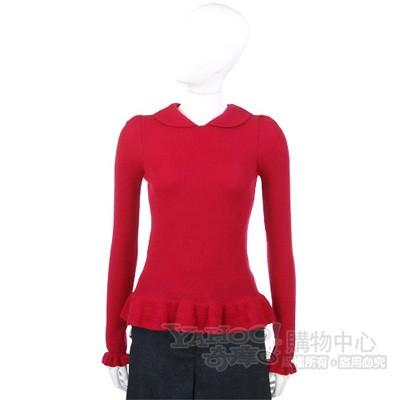 VALENTINO 紅色荷葉造型針織上衣