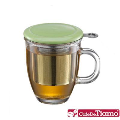 Tiamo 附蓋不鏽鋼濾網玻璃馬克杯445ml-三色