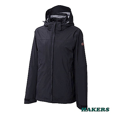 【HAKERS】女-三合一防水保暖外套(黑色)