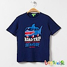bossini男童-印花短袖T恤20海藍