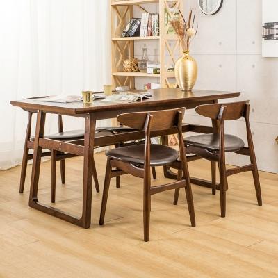 Jiachu 佳櫥世界-Judy舒帝實木一桌四椅/二色-寬150x深80x高76公分