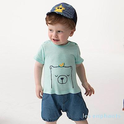 les enphants baby檸檬熊假二件式配色連身裝 綠色