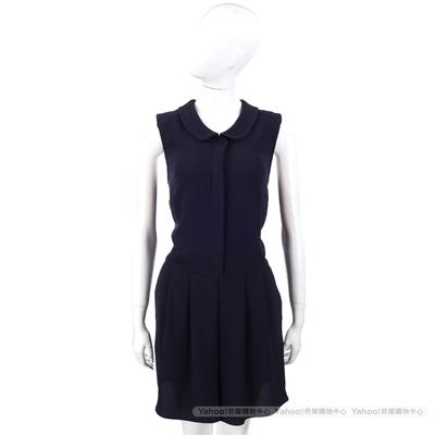 MOSCHINO 深藍色半釦式無袖連身褲裝