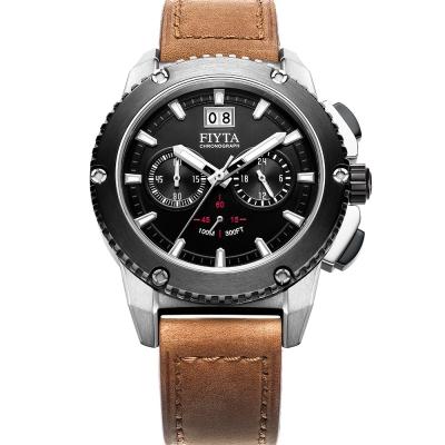 FIYTA 飛亞達 紳士粗獷系列石英男錶-黑x咖啡色錶帶/ 46 mm