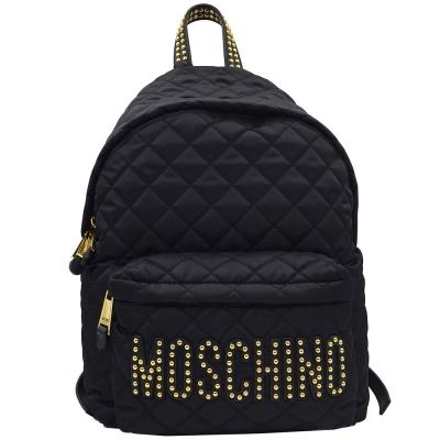 Moschino 品牌字母LOGO 鉚釘圖騰尼龍菱格紋後背包(黑)