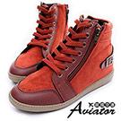 Aviator*韓國空運-正韓製皮革絨質側拉鍊綁帶高筒增高鞋-紅
