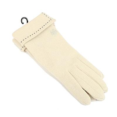 CLATHAS 安哥拉混羊毛反折觸控手套(米色)