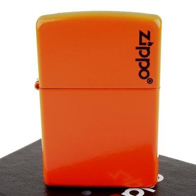 【ZIPPO】美系~LOGO字樣打火機-Neon Orange-霓虹橘烤漆加工