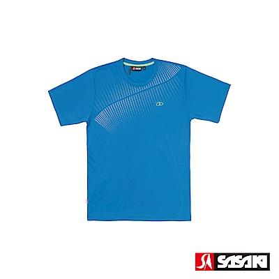 SASAKI 長效性吸濕排汗功能圓領短衫-男-亮藍/淺灰