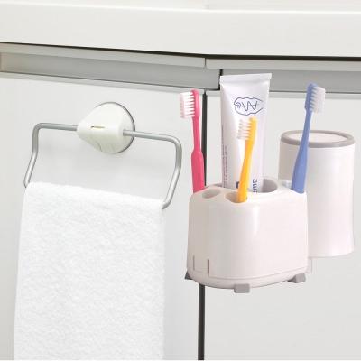 日本LEC鋁合金吸盤毛巾架+牙刷架(特惠組)