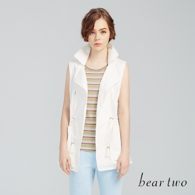beartwo 繽紛橫條紋彈性羅紋背心(二色)-動態show