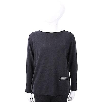 FABIANA FILIPPI 喀什米爾深灰色拉鍊口袋設計美麗諾羊毛衫