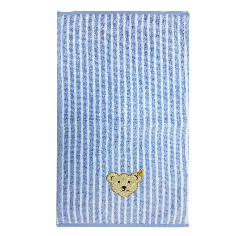 STEIFF德國金耳釦泰迪熊 - 藍色 直條紋 小毛巾 (嬰幼兒衛浴系列)
