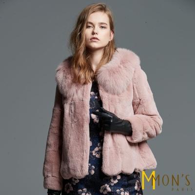 MONS-精品狐狸毛領兔毛外套