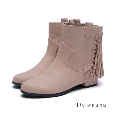 達芙妮DAPHNE-短靴-絨布流蘇牛仔短靴-駝