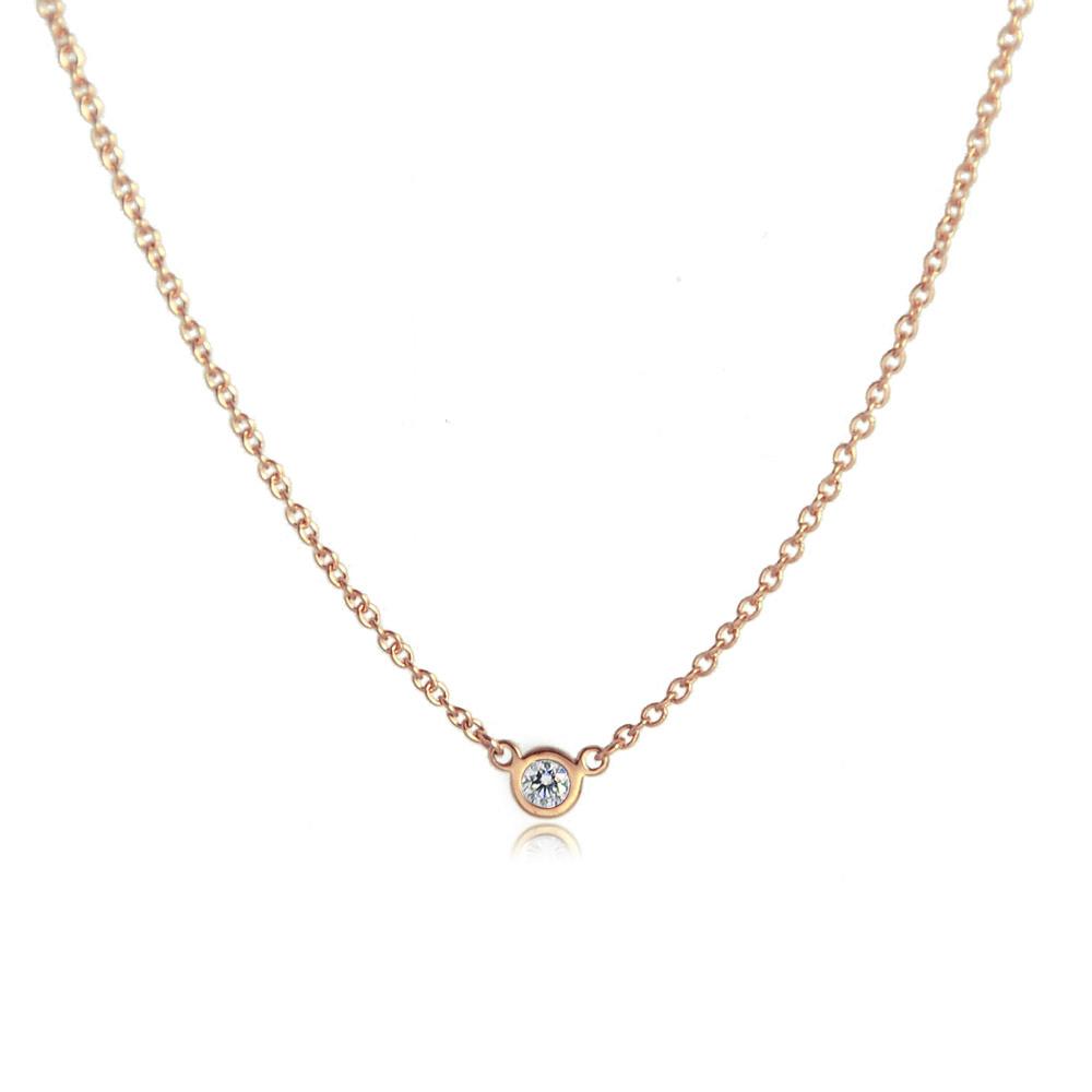 Tiffany&Co. 純淨圓形0.03克拉透明美鑽玫瑰金 鎖骨鍊項鍊