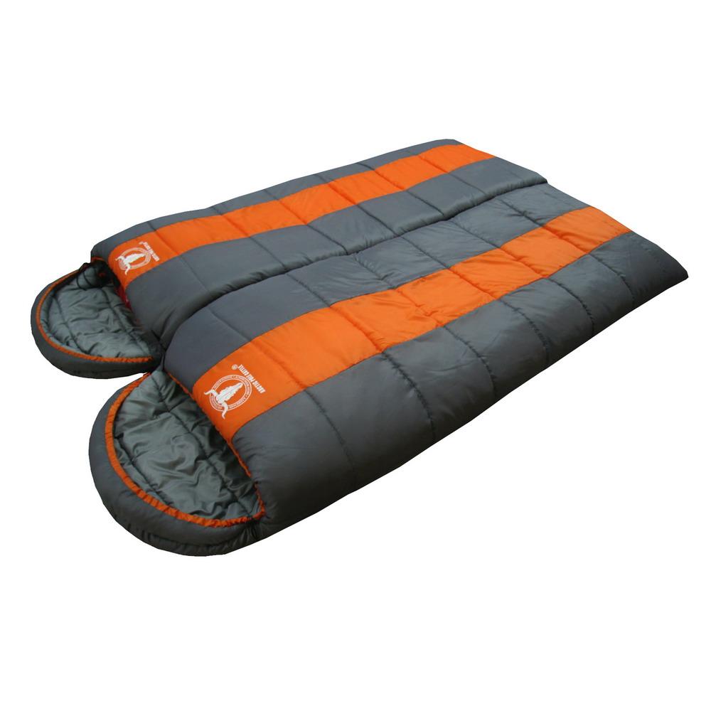 【APC】秋冬可拼接全開式睡袋-雙層七孔棉 (桔灰色) 2入組