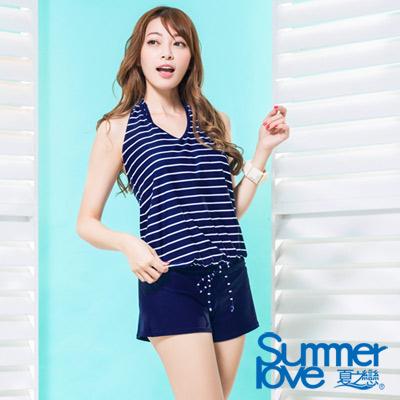夏之戀SUMMERLOVE 比基尼泳裝 外搭連身褲比基尼三件式 深藍條紋