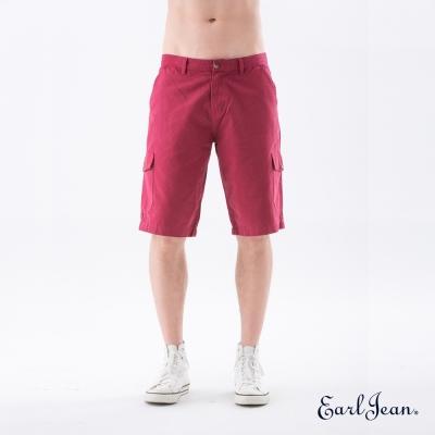 Earl Jean 洗舊多袋短褲-棗紅-男