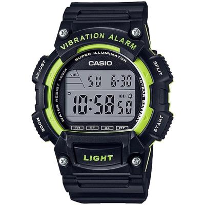 CASIO 強悍頂尖休閒玩家必備數位運動錶(W-736H-3A)-黑X綠框/47mm
