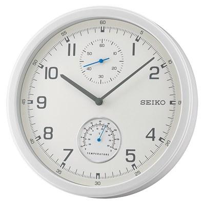 SEIKO 日本精工 滑動式秒針 溫度顯示 靜音掛鐘(QXA542W)-白/35cm