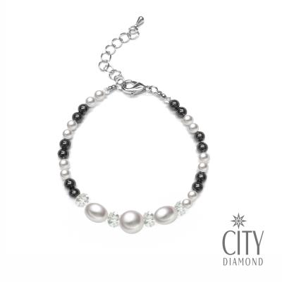 City Diamond引雅 【手作設計系列 】天然珍珠水晶黑瑪瑙手鍊