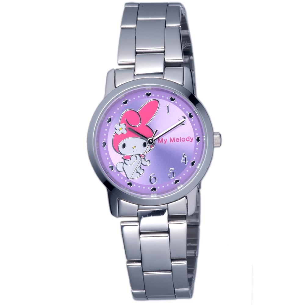 HELLO KITTY 美樂蒂愛心俏麗優質手錶-銀x紫/30mm