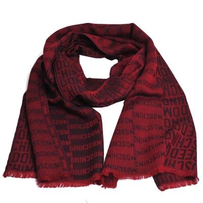 MOSCHINO品牌字母LOGO義大利製設計羊毛披肩/圍巾(紅)
