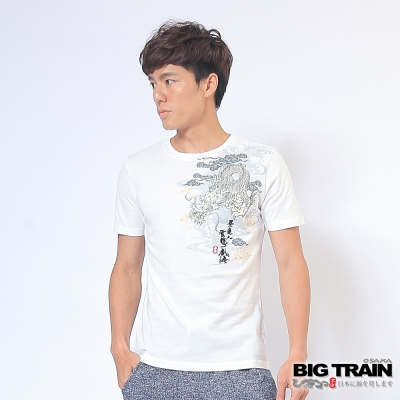 BIG TRAIN 雲龍戲海圓領T-男-白色