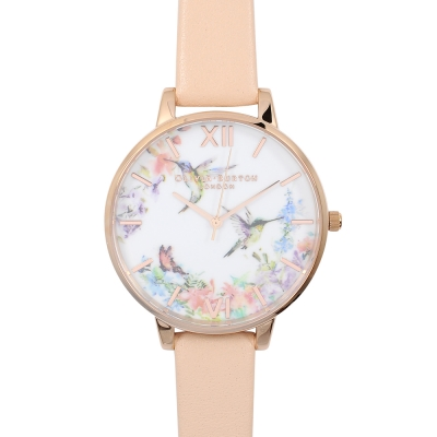 Olivia Burton 英倫復古精品手錶 浮世繪花鳥 粉色真皮錶帶 玫瑰金錶框 38m