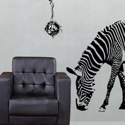 B-057手繪動物系列-斑馬 大尺寸高級創意壁貼 / 牆貼