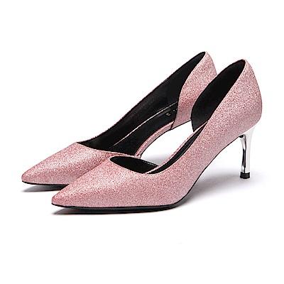 達芙妮DAPHNE 高跟鞋-金蔥挖空尖頭細高跟鞋-粉紅