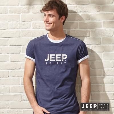 JEEP 美式經典品牌文字短袖TEE 海軍藍 (合身版)