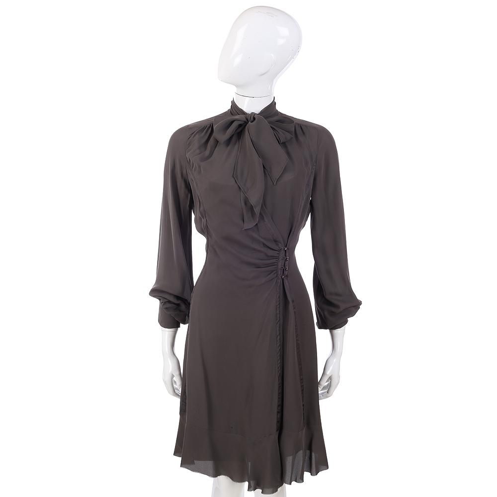PHILOSOPHY 深灰色蝴結飾長袖洋裝