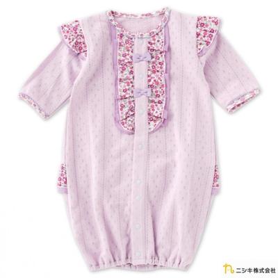 Nishiki 日本株式會社 粉紫拼接碎花雪紡兩穿式長袖連身衣