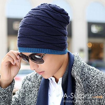 A-Surpriz 率性風格兩用雙面針織帽毛線帽(藍)