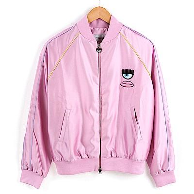 CHIRAR FERRAGNI 粉紅緞面刺繡眼睛背面英文字母BAD GIRL圖案外套 S號