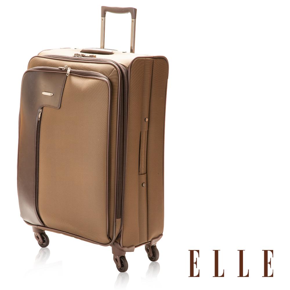 ELLE 經典優雅紳士條紋20吋高單寧尼龍布登機箱/行李箱-咖啡