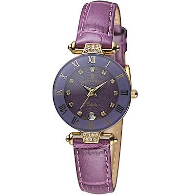Jacques du manoir彩虹系列時尚復古腕錶(R-VIS 紫)