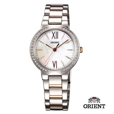 ORIENT 東方錶 DRESS系列 時尚晶亮珍珠貝女錶-珠貝x玫瑰金色/32mm