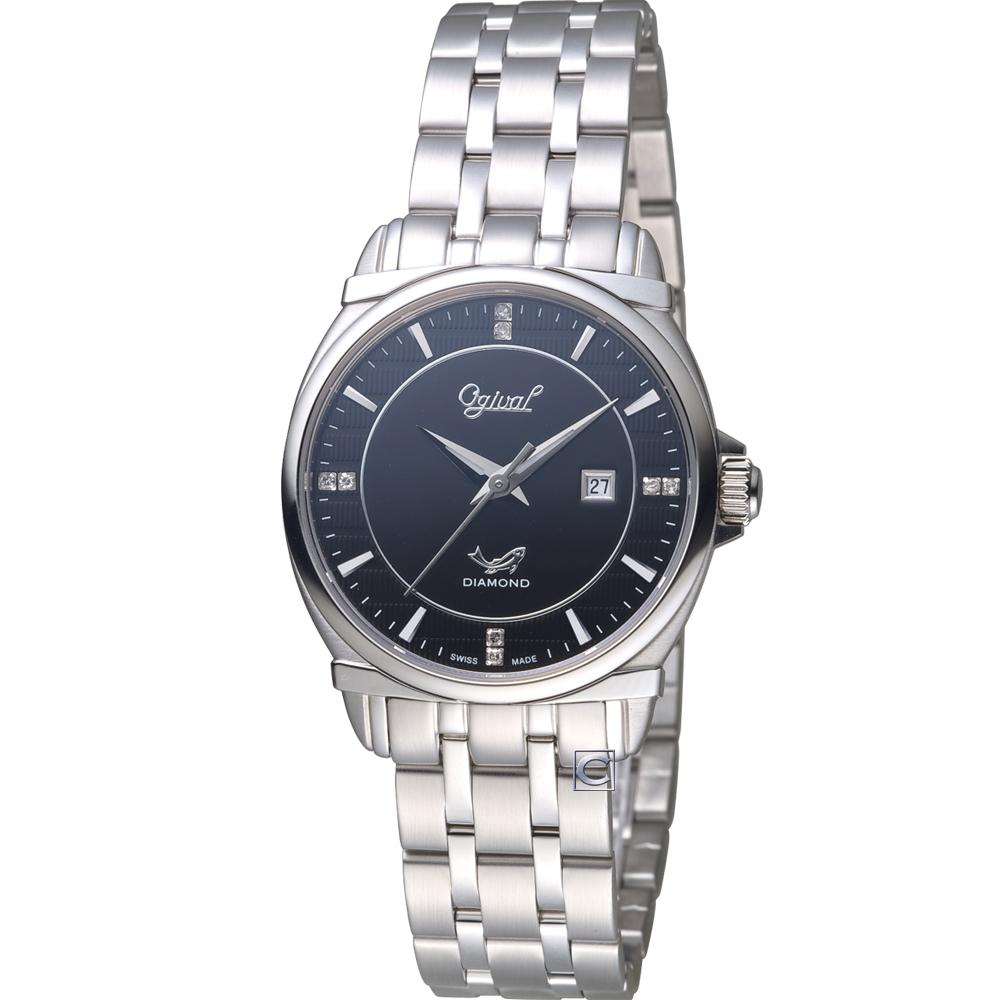 Ogival愛其華典藏真鑽時尚腕錶(350-04LS)黑/30mm