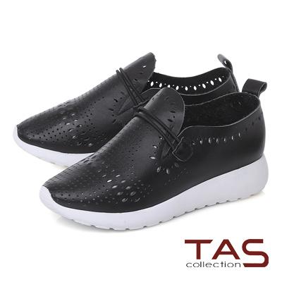 TAS 牛皮打洞造型繫繩休閒鞋-率性黑