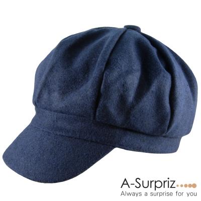 A-Surpriz 優雅淑女混毛呢貝雷帽(深藍)