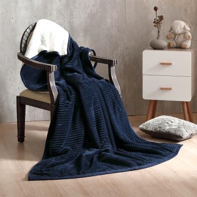 鴻宇HongYew 雙層超柔暖感萬用羊羔絨毯 午夜藍