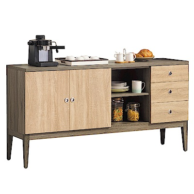 品家居 華赫茲5.3尺木紋雙色餐櫃下座-159.7x40x80.6cm免組