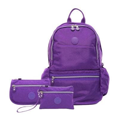 COUNT DUCK 美系悠活輕量運動型後背包CD-012 (超值三件組) 神秘紫
