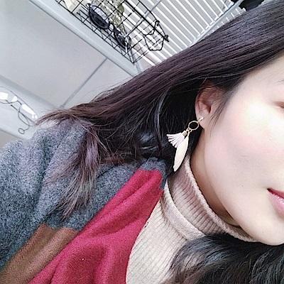 Hera 赫拉 韓版淑女羽毛流蘇圓圈幾何耳釘耳環